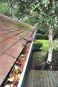 stock photo of gutter  - Dirty clogged rain gutter on house with mossy roof - JPG