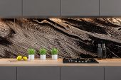Black Marble Kitchen With Gray Countertops poster