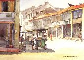 heritage town scene watercolor