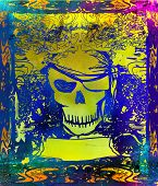 Skull Pirate - retro grunge card