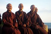 Buddhist Monks Wearing Kimono Robes
