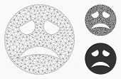 Mesh Sadness Smiley Model With Triangle Mosaic Icon. Wire Carcass Polygonal Mesh Of Sadness Smiley.  poster