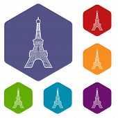 Eiffel Tower Icon. Outline Illustration Of Eiffel Tower Vector Icon For Web poster