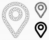 Mesh Map Pointer Model With Triangle Mosaic Icon. Wire Carcass Polygonal Mesh Of Map Pointer. Vector poster