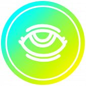 eye with cool gradient finish circular icon with cool gradient finish poster