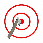 Axe In The Target, Red Lines, White Background. Axe Throwing, Lumberjack Sport. poster