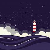 Lighthouse in night sea.