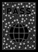Glowing Mesh Passport With Glare Effect. Abstract Illuminated Model Of Passport Icon. Shiny Wire Car poster