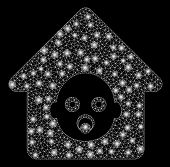 Flare Mesh Nursery House With Glow Effect. Abstract Illuminated Model Of Nursery House Icon. Shiny W poster