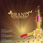 Vector 3d Cosmetic Illustration For The Promotion Of Lipstick Premium Product. Red Lipstick, Pink Li poster