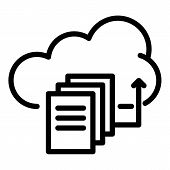 Upload Files To The Cloud Icon. Outline Upload Files To The Cloud Icon For Web Design Isolated On Wh poster