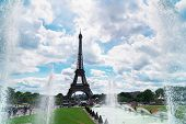 Eiffel Tower With Trocadero Fountains, Paris, France poster