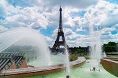 Eiffel Tower With Trocadero Fountains At Summer, Paris, France poster