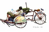trishaw peddler watercolor