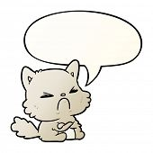 cute cartoon angry cat with speech bubble in smooth gradient style poster