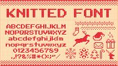 Winter Sweater Font. Knitted Christmas Sweaters Letters, Knit Jumper Xmas Pattern And Ugly Sweater K poster