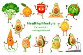 Sport Fruits And Vegetables. Healthy Lifestyle Mascots, Fruit Sports Exercise And Avocado Yoga Worko poster