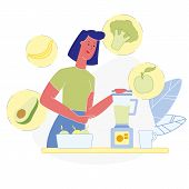 Vegetarian Smoothie Making Vector Illustration. Avocado, Broccoli, Apple, Banana In Electronic Blend poster