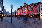 Illuminated Neuhauser Street And Karlsplatz Gate In Munich At The Evening, Germany