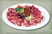 pic of charcuterie  - restaurant dish consisting of meats with olives - JPG