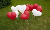 White And Red Heart Balloons