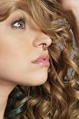 stock photo of nose piercing  - Close - JPG