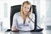 Empresaria en oficina con agenda abierta en el teléfono