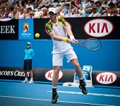 MELBOURNE - JANUARY 17: Andy Murray of Scotlandr in his second round win over Joao Sousa  of Portuga