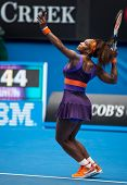 MELBOURNE - JANUARY 17: Serena Williams of the USAin her second round win over Garbine Muguruza of S