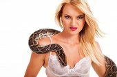 sexy blonde woman with python