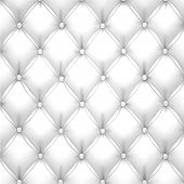 Vector illustration of white realistic upholstery leather pattern background. Eps10.