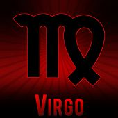 Virgo-symbol with a red background and black burst.