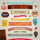 Set of vector retro ribbons, old dirty paper textures and vintage labels, banners and emblems. Elements for design.