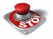 pic of interrupter  - Stop button over white concept of cease pause interrupt etc - JPG