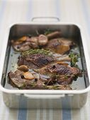 stock photo of canard  - Braised Boneless Shoulder of Lamb with Beans - JPG