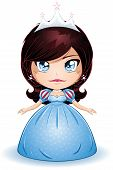 picture of chibi  - A vector illustration of a princess with crown in blue dress - JPG