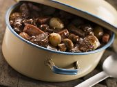 stock photo of boeuf  - Boeuf Borguignon with Saute Potatoes - JPG
