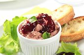foto of canard  - Delicious pate appetizer with toasted bread - JPG