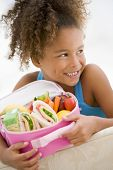 stock photo of school lunch  - Portrait of young boy with healthy packed lunch - JPG