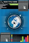 Vector statistic brochure background with planes flying around the globe