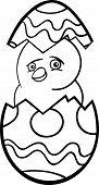 Pintinho no ovo de Páscoa dos desenhos animados para colorir