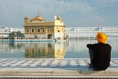 Sikh Meditating Inside Famous Religious Landmark Of Punjab -Golden Temple,Amritsar