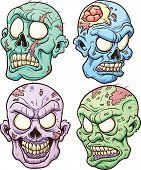 stock photo of maggot  - Cartoon zombie heads - JPG