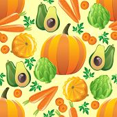 Seamless pattern with pumpkin, avocado, squash, artichoke and carrot.  Made with clipping mask. EPS 10