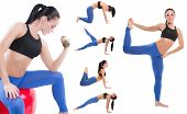 Young Woman Exercising Collage - Yoga,fitness,pilate S,aerobics On Isolated White Background