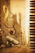 image of broadway  - old historical new york background with broadway - JPG