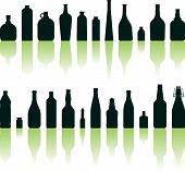 stock photo of liquor bottle  - Vector illustration of different bottles silhouettes on white background - JPG