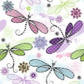 Spring Seamless Floral Pattern With Dragonflies