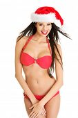 Sexy santa helper in bikini, isolated on white