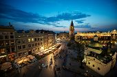 picture of auschwitz  - Krakow Market Square at sunset with night lights - JPG